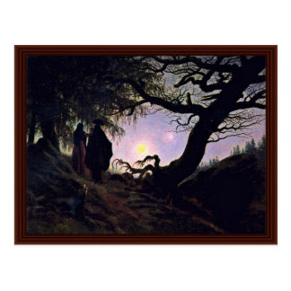 Man And Woman Looking At The Moon Postcard