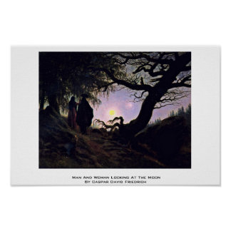 Man And Woman Looking At The Moon Poster