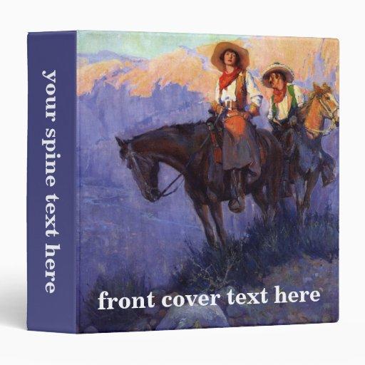 Man and Woman on Horses, Anderson, Vintage Cowboys Vinyl Binders