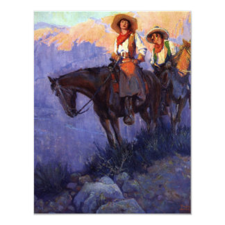 Man and Woman on Horses, Anderson, Vintage Cowboys 4.25x5.5 Paper Invitation Card