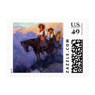 Man and Woman on Horses, Anderson, Vintage Cowboys Stamps