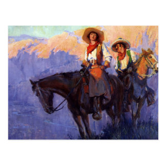 Man and Woman on Horses, Anderson, Vintage Cowboys Post Cards