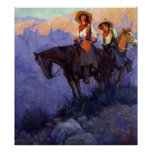Man and Woman on Horses, Anderson, Vintage Cowboys Print