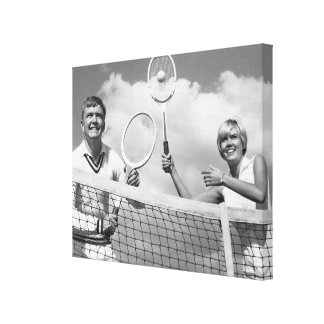 Man and Woman Playing Tennis Canvas Print