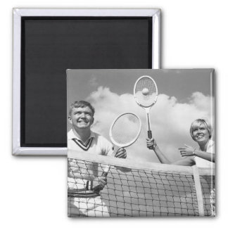 Man and Woman Playing Tennis Magnet