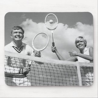 Man and Woman Playing Tennis Mouse Pad