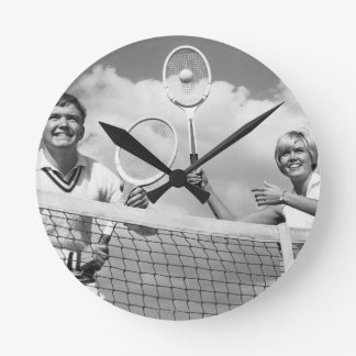 Man and Woman Playing Tennis Round Clock