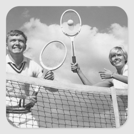 Man and Woman Playing Tennis Square Sticker