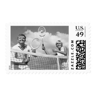 Man and Woman Playing Tennis Stamp