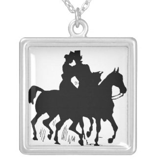 Man And Woman Riding Horses Square Pendant Necklace