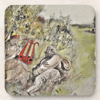Man and Woman Sitting in the Pasture Beverage Coaster