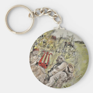 Man and Woman Sitting in the Pasture Keychain