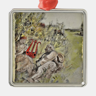 Man and Woman Sitting in the Pasture Square Metal Christmas Ornament