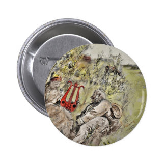 Man and Woman Sitting in the Pasture Pinback Button