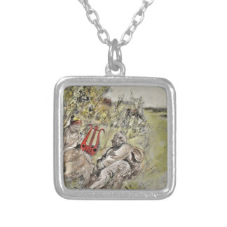 Man and Woman Sitting in the Pasture Silver Plated Necklace