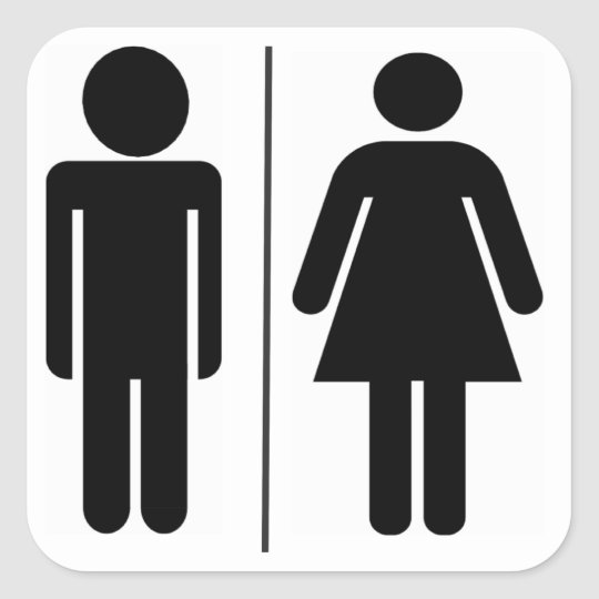 Man and woman wc sign square sticker