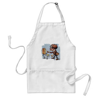 Man Arguing with Bread and Butter Adult Apron