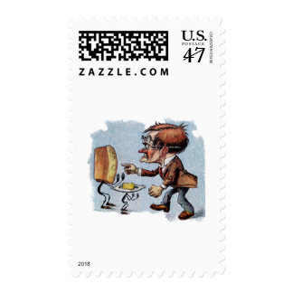 Man Arguing with Bread and Butter Postage Stamp