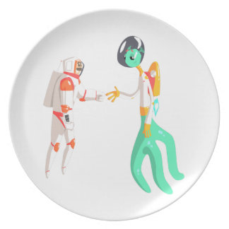 Man Astronaut Shaking Hands With Green Male Alien Melamine Plate
