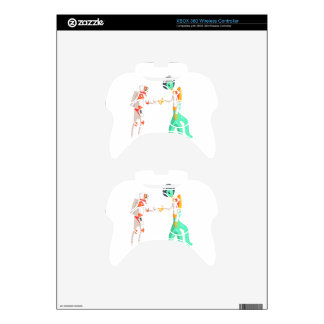 Man Astronaut Shaking Hands With Green Male Alien Xbox 360 Controller Decal