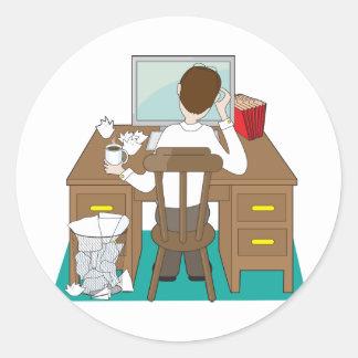 Man at Desk Classic Round Sticker