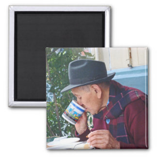 Man at the Cafe - First Cup of Coffee 2 Inch Square Magnet