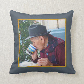 Man at the Cafe - First Cup of Coffee Throw Pillow