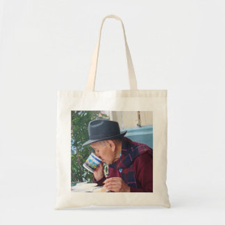 Man at the Cafe - First Cup of Coffee Tote Bag