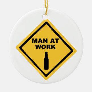 Man at Work Ceramic Ornament