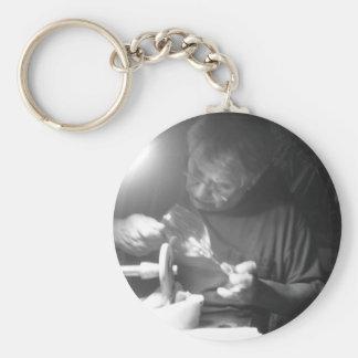 Man At Work Basic Round Button Keychain