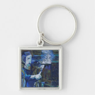 Man at Work Silver-Colored Square Keychain