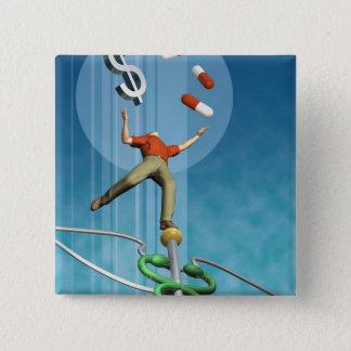 Man balancing drugs and dollar sign pinback button