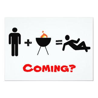 man + BBQ = Chillin, Coming? Card