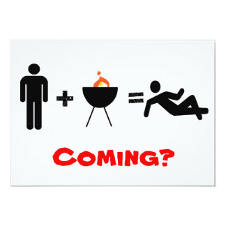 man + BBQ = Chillin, Coming? 13 Cm X 18 Cm Invitation Card