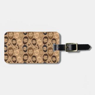 MAN BEARD pattern repeating Bag Tag