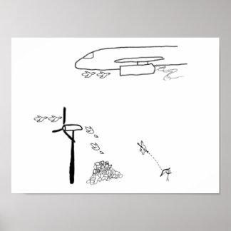 Man & Birds Poster