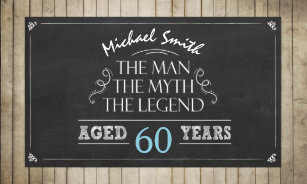 Man Birthday Banner Myth Legend Rustic Wood 60