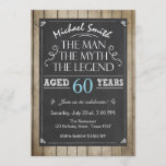 """Man Birthday invitation Chalkboard Rustic Adult<br><div class=""""desc"""">♥ A perfect way to invite your guests to this special birthday party! The man The myth The legend theme.</div>"""