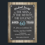 "Man Birthday invitation Chalkboard Rustic Adult<br><div class=""desc"">♥ A perfect way to invite your guests to this special birthday party! The man The myth The legend theme.</div>"