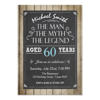 60th birthday party invitations 4700 60th birthday party man birthday invitation chalkboard rustic adult stopboris Choice Image