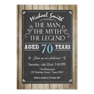 Man Birthday Invitation Chalkboard Rustic Adult 70