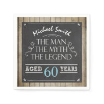 Man Birthday Man Myth Legend Napkins Rustic Adult