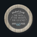 """Man Birthday Plates Man Myth Legend Rustic Adult<br><div class=""""desc"""">♥ A perfect addition to your birthday party! Man Myth Legend theme with a rustic wood and chalk background.</div>"""