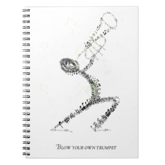 Man blowing Trumpet designed using musical notes Notebook