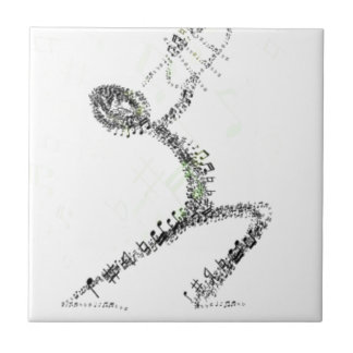 Man blowing Trumpet designed using musical notes Tile