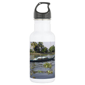 Man boating on the salt water lagoon in Alleppey Water Bottle