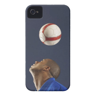 Man bouncing soccer ball on his head 2 iPhone 4 Case-Mate cases