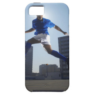 Man bouncing soccer ball on his head iPhone 5 cover