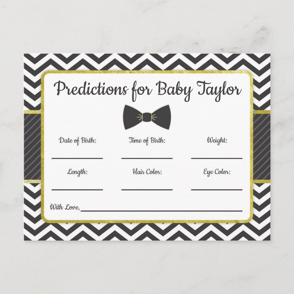 Man Bow Tie Baby Shower Predictions black and gold Invitation Postcard