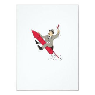 Man Bowler Hat Riding Fireworks Rocket Cartoon 4.5x6.25 Paper Invitation Card